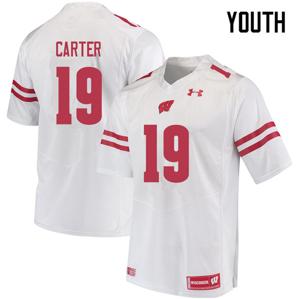 Youth #19 Nate Carter Wisconsin Badgers College Football Jerseys Sale-White
