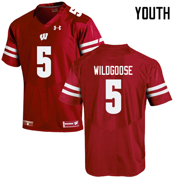 Youth #5 Rachad Wildgoose Wisconsin Badgers College Football Jerseys Sale-Red