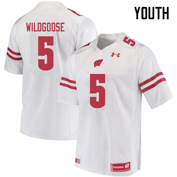 Youth #5 Rachad Wildgoose Wisconsin Badgers College Football Jerseys Sale-White
