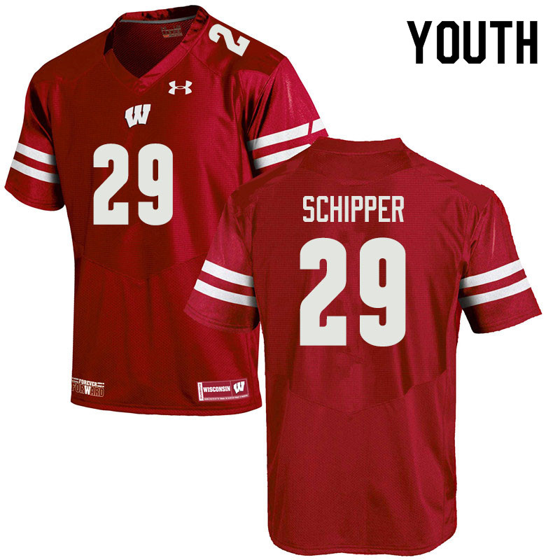 Youth #29 Brady Schipper Wisconsin Badgers College Football Jerseys Sale-Red