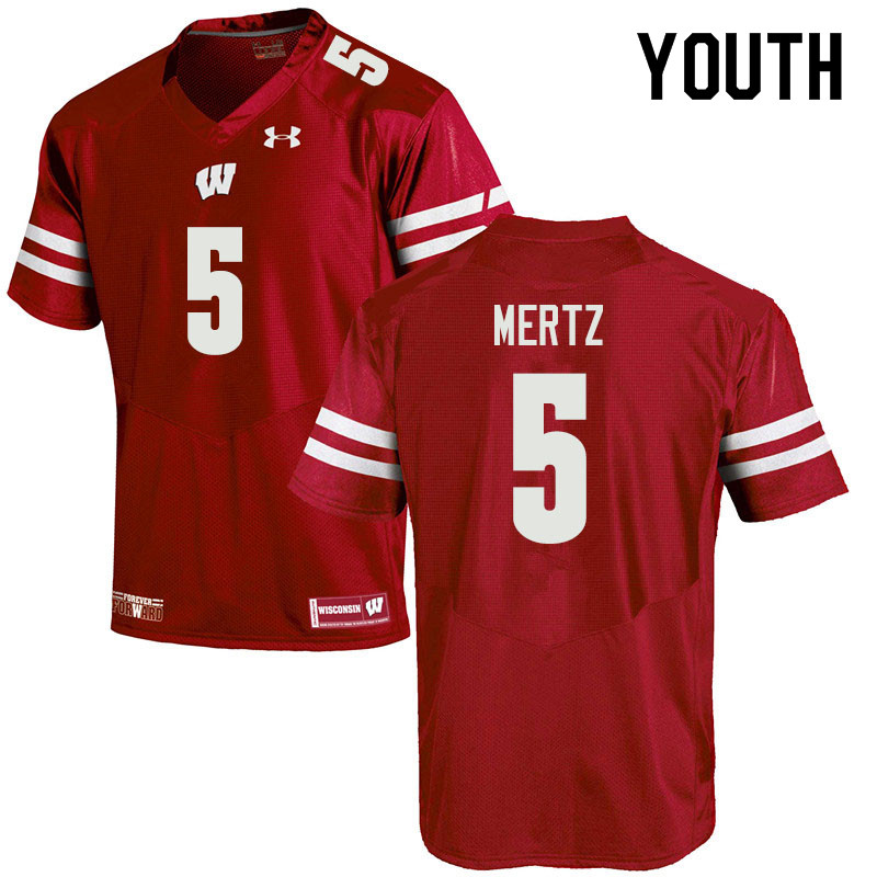 Youth #5 Graham Mertz Wisconsin Badgers College Football Jerseys Sale-Red