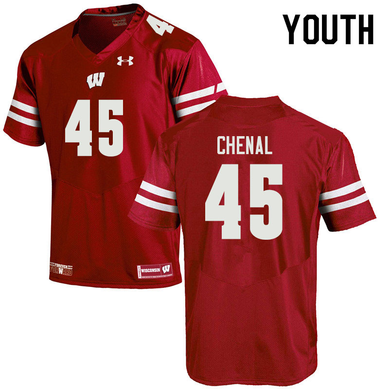 Youth #45 Leo Chenal Wisconsin Badgers College Football Jerseys Sale-Red
