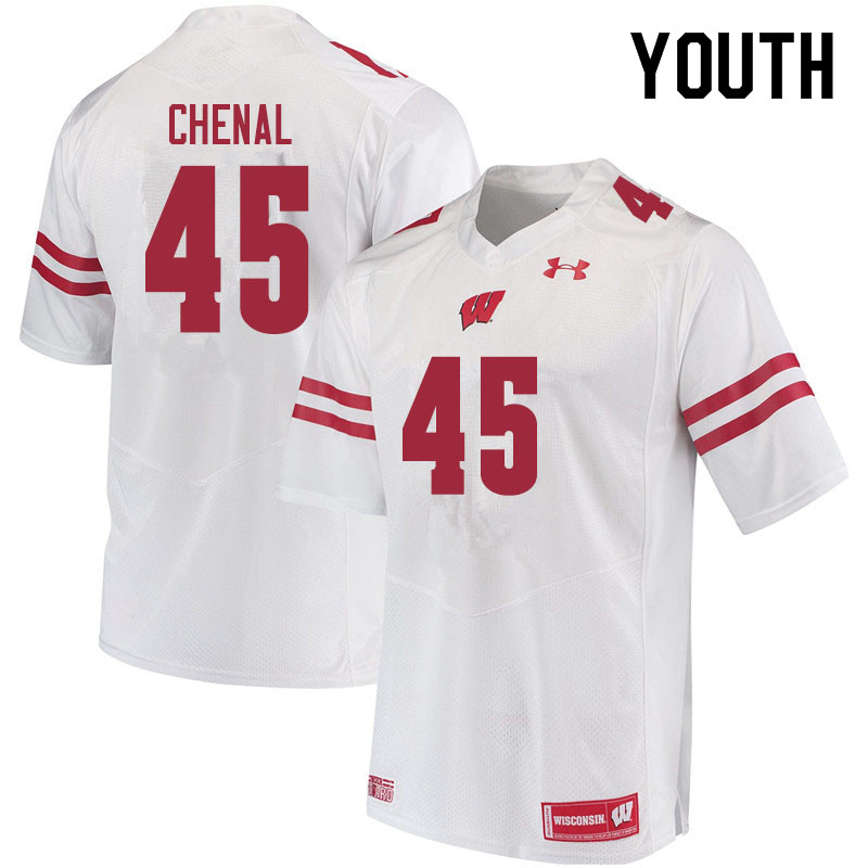 Youth #45 Leo Chenal Wisconsin Badgers College Football Jerseys Sale-White