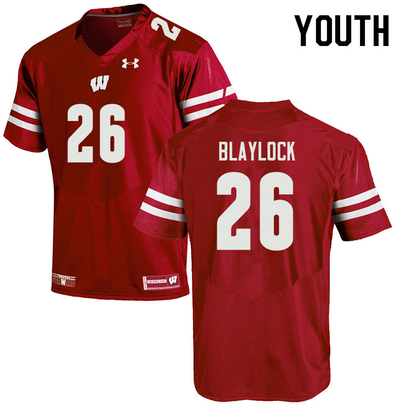 Youth #26 Travian Blaylock Wisconsin Badgers College Football Jerseys Sale-Red