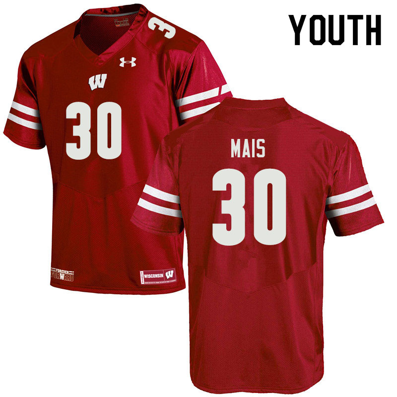 Youth #30 Tyler Mais Wisconsin Badgers College Football Jerseys Sale-Red