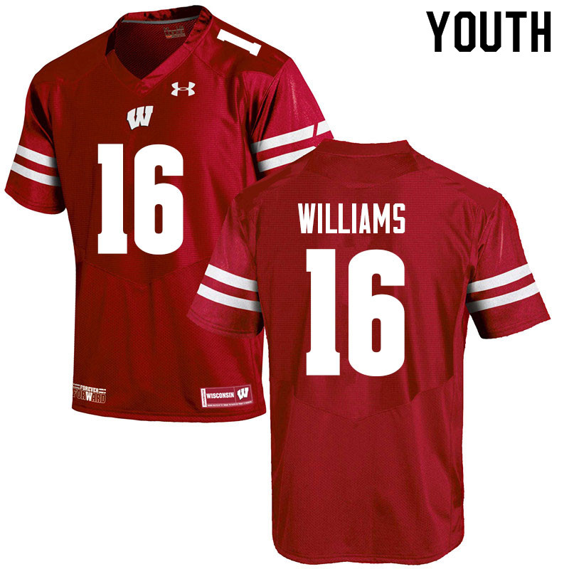Youth #16 Amaun Williams Wisconsin Badgers College Football Jerseys Sale-Red