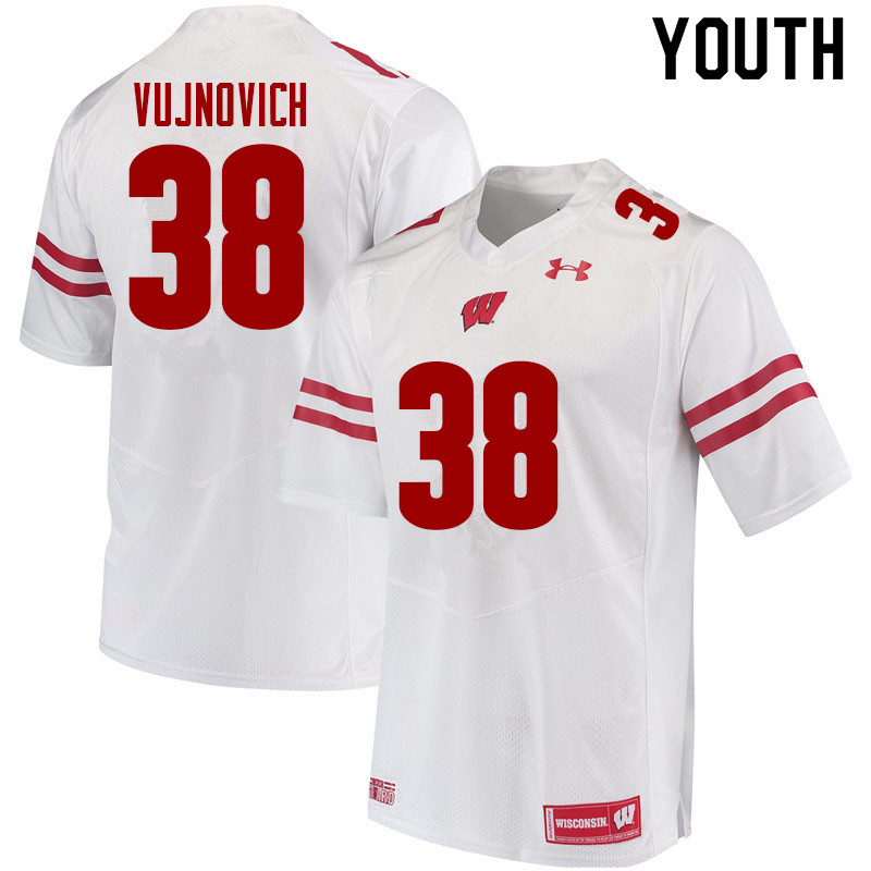Youth #38 Andy Vujnovich Wisconsin Badgers College Football Jerseys Sale-White