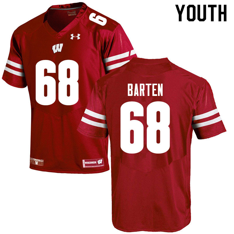 Youth #68 Ben Barten Wisconsin Badgers College Football Jerseys Sale-Red