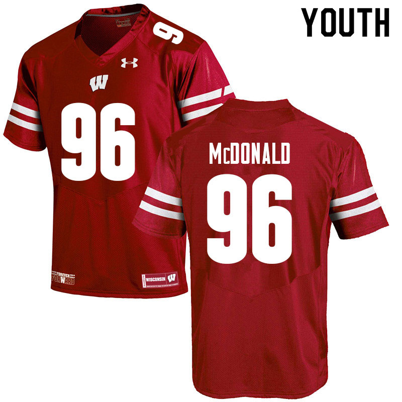 Youth #96 Cade McDonald Wisconsin Badgers College Football Jerseys Sale-Red