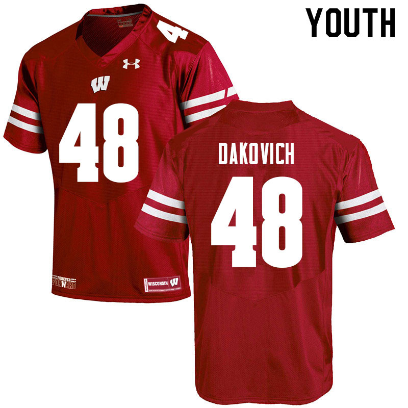 Youth #48 Cole Dakovich Wisconsin Badgers College Football Jerseys Sale-Red