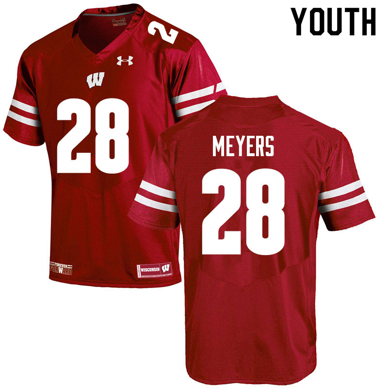 Youth #28 Gavin Meyers Wisconsin Badgers College Football Jerseys Sale-Red