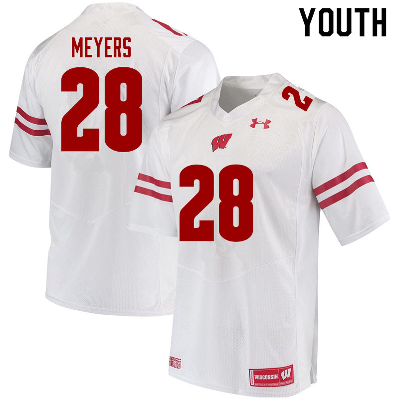 Youth #28 Gavin Meyers Wisconsin Badgers College Football Jerseys Sale-White