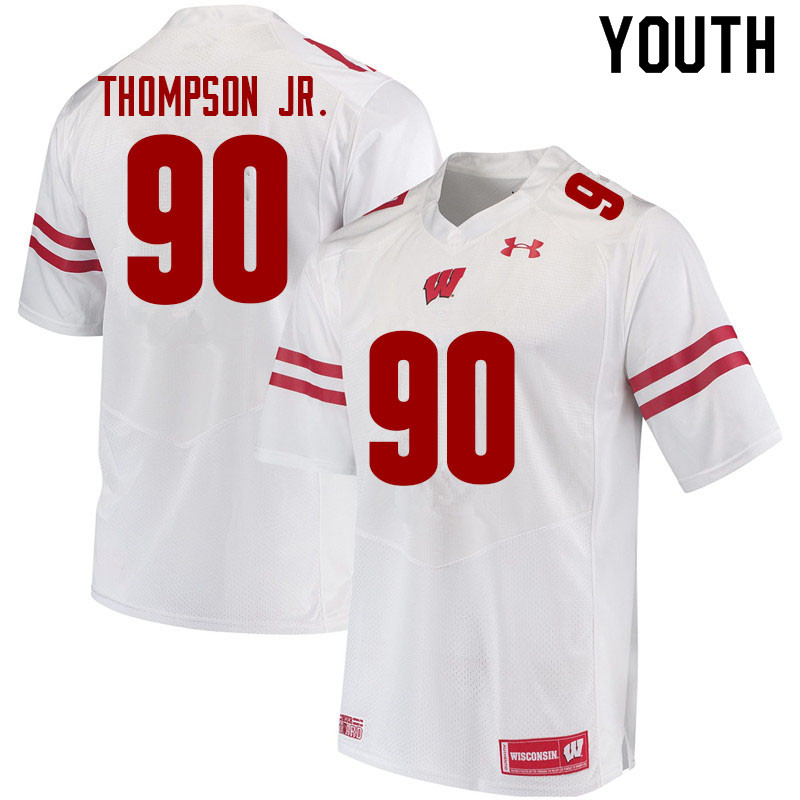 Youth #90 James Thompson Jr. Wisconsin Badgers College Football Jerseys Sale-White