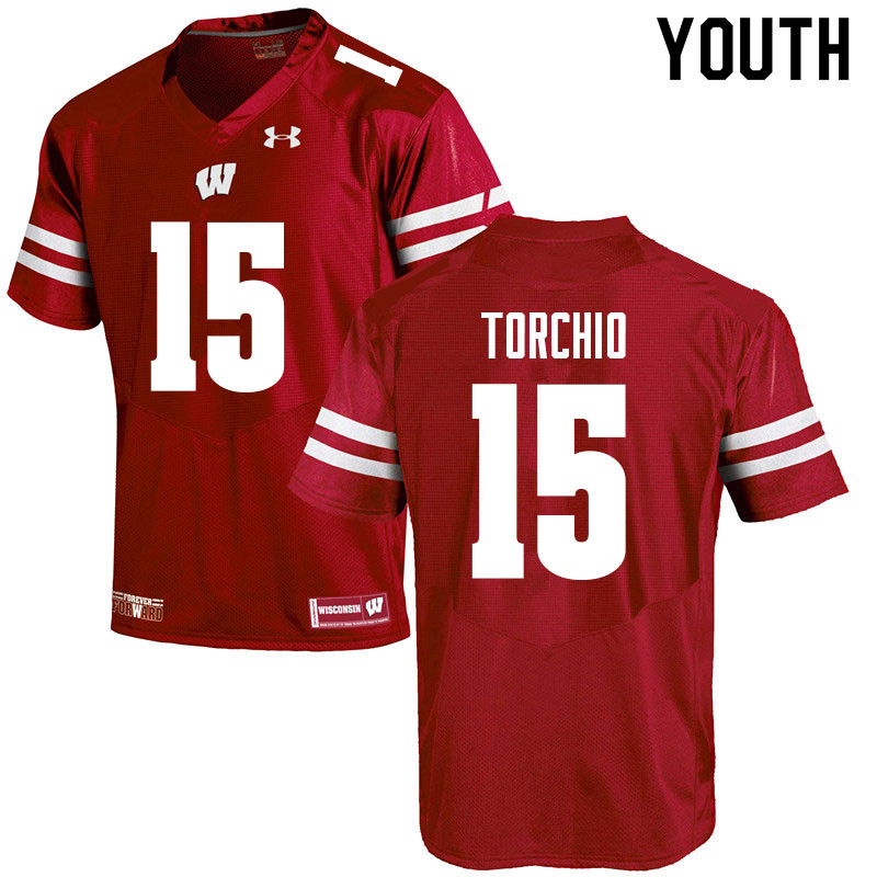 Youth #15 John Torchio Wisconsin Badgers College Football Jerseys Sale-Red