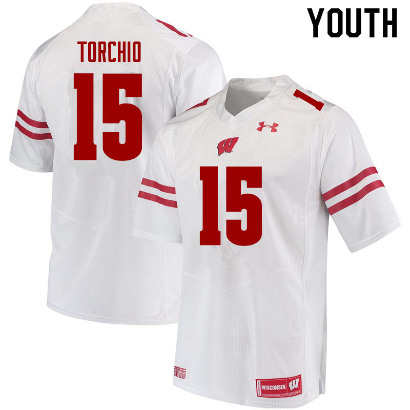 Youth #15 John Torchio Wisconsin Badgers College Football Jerseys Sale-White