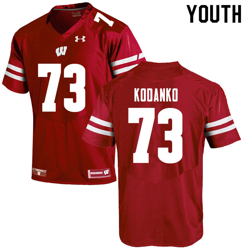Youth #73 Kerry Kodanko Wisconsin Badgers College Football Jerseys Sale-Red