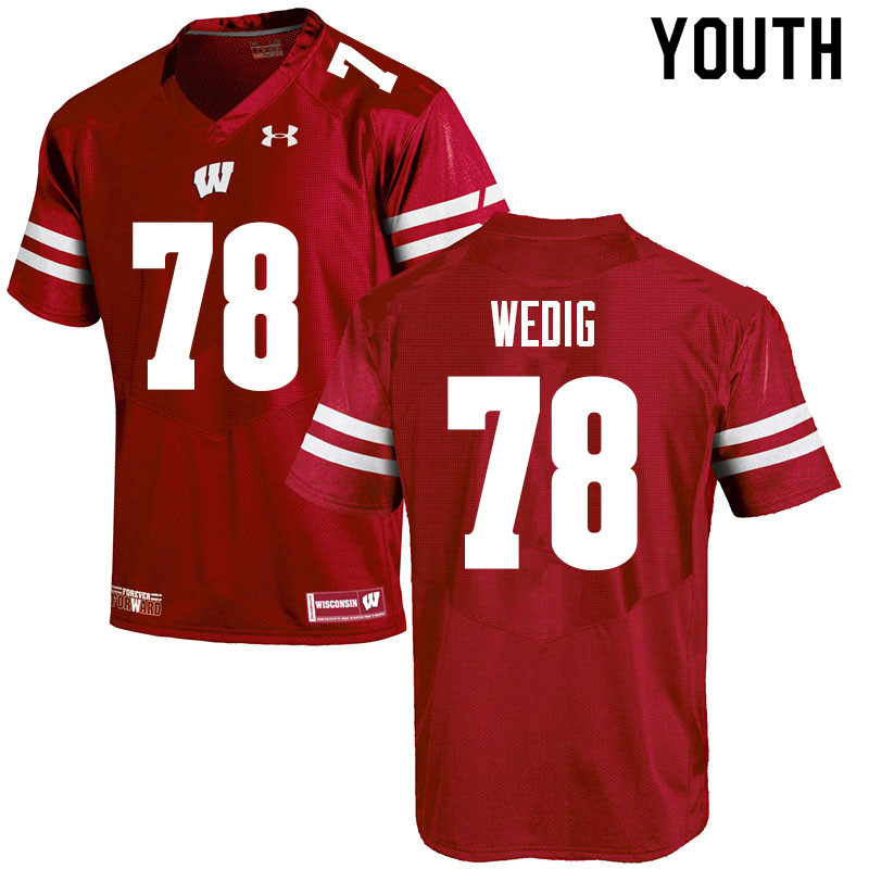 Youth #78 Trey Wedig Wisconsin Badgers College Football Jerseys Sale-Red