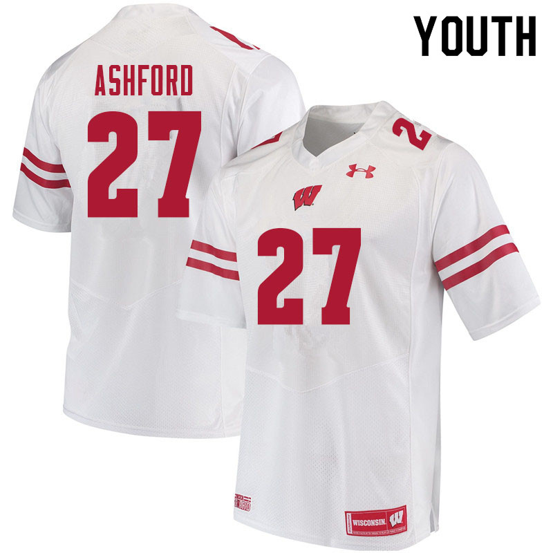 Youth #27 Al Ashford Wisconsin Badgers College Football Jerseys Sale-White