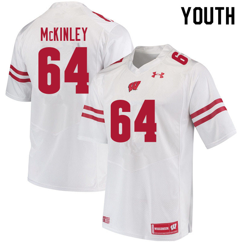 Youth #64 Duncan McKinley Wisconsin Badgers College Football Jerseys Sale-White