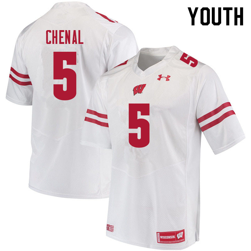 Youth #5 Leo Chenal Wisconsin Badgers College Football Jerseys Sale-White