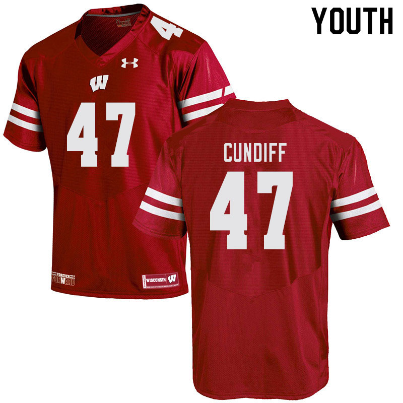 Youth #47 Clay Cundiff Wisconsin Badgers College Football Jerseys Sale-Red
