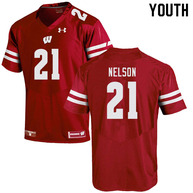 Youth #21 Cooper Nelson Wisconsin Badgers College Football Jerseys Sale-Red