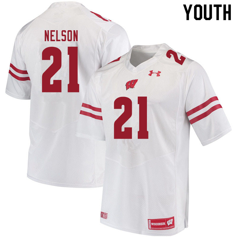 Youth #21 Cooper Nelson Wisconsin Badgers College Football Jerseys Sale-White