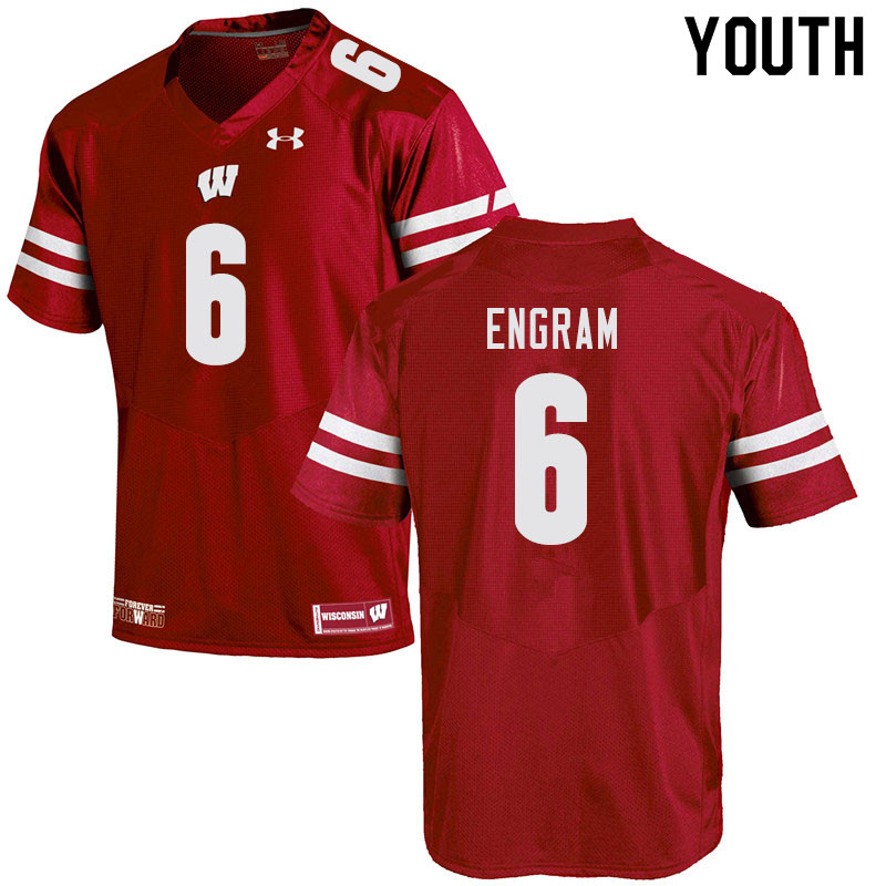 Youth #6 Dean Engram Wisconsin Badgers College Football Jerseys Sale-Red
