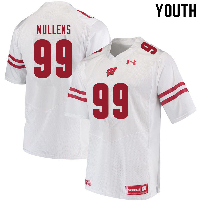 Youth #99 Isaiah Mullens Wisconsin Badgers College Football Jerseys Sale-White