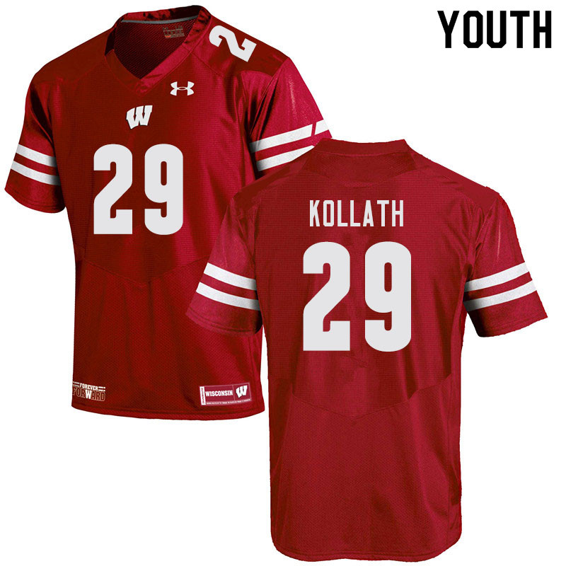 Youth #29 Jackson Kollath Wisconsin Badgers College Football Jerseys Sale-Red
