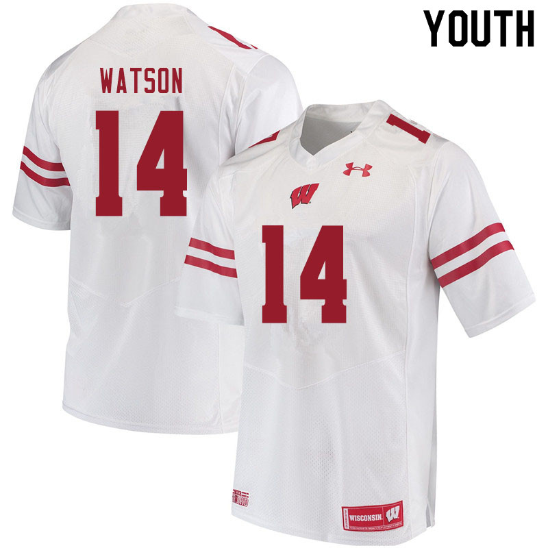Youth #14 Nakia Watson Wisconsin Badgers College Football Jerseys Sale-White