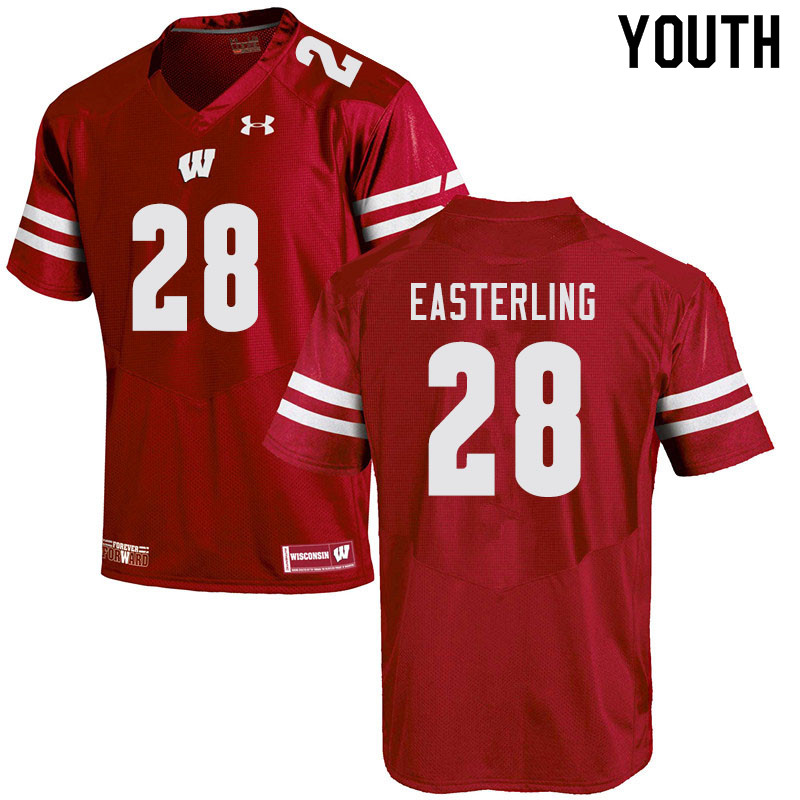 Youth #28 Quan Easterling Wisconsin Badgers College Football Jerseys Sale-Red