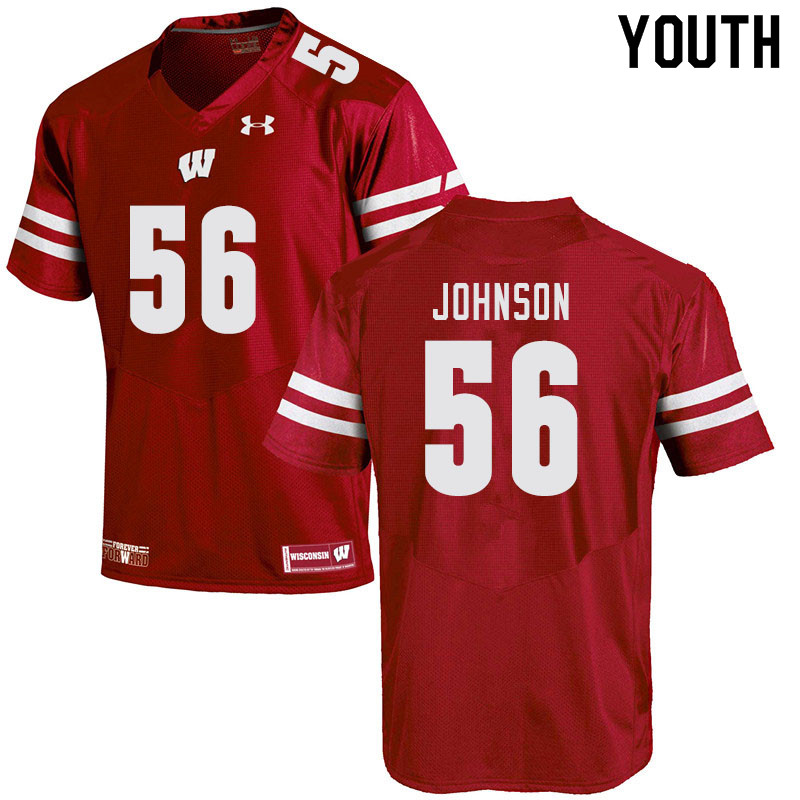 Youth #56 Rodas Johnson Wisconsin Badgers College Football Jerseys Sale-Red