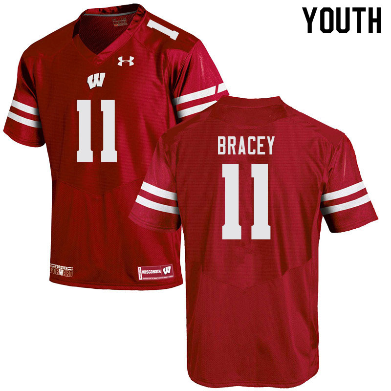 Youth #11 Stephan Bracey Wisconsin Badgers College Football Jerseys Sale-Red