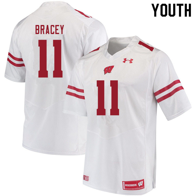 Youth #11 Stephan Bracey Wisconsin Badgers College Football Jerseys Sale-White