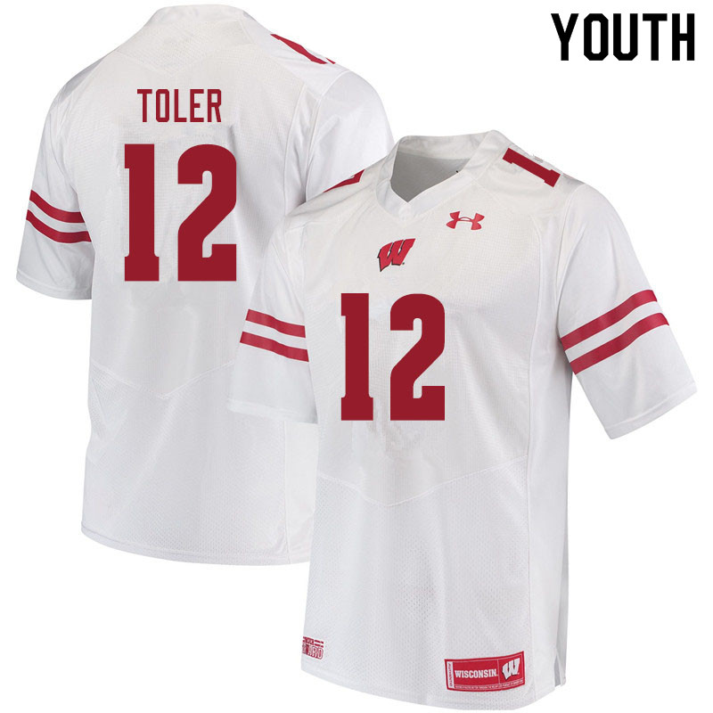 Youth #12 Titus Toler Wisconsin Badgers College Football Jerseys Sale-White