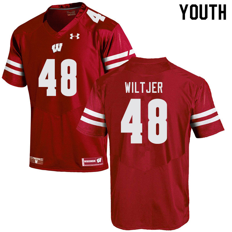 Youth #48 Travis Wiltjer Wisconsin Badgers College Football Jerseys Sale-Red