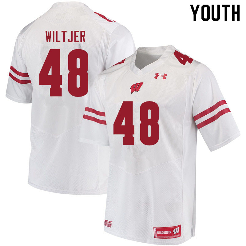 Youth #48 Travis Wiltjer Wisconsin Badgers College Football Jerseys Sale-White