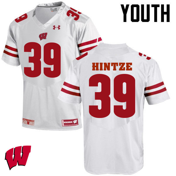 Youth Wisconsin Badgers #39 Zach Hintze College Football Jerseys-White
