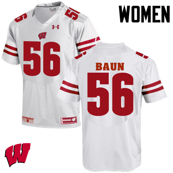 Women Wisconsin Badgers #56 Zack Baun College Football Jerseys-White
