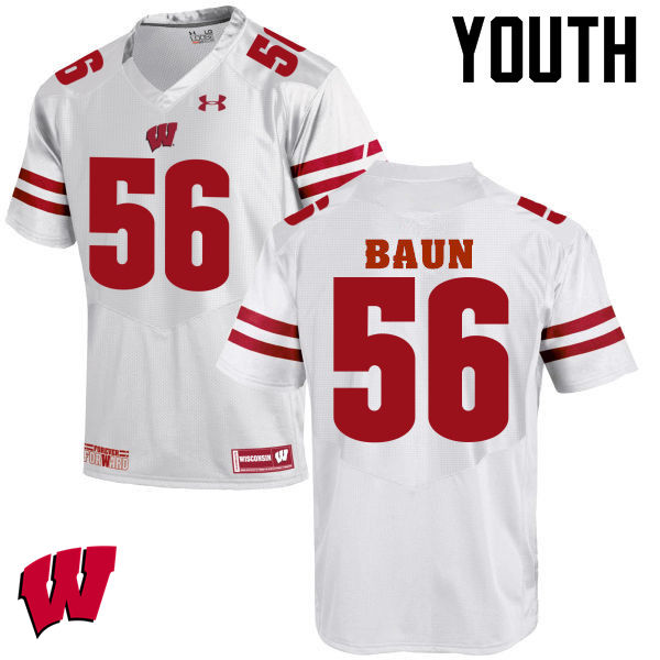 Youth Wisconsin Badgers #56 Zack Baun College Football Jerseys-White