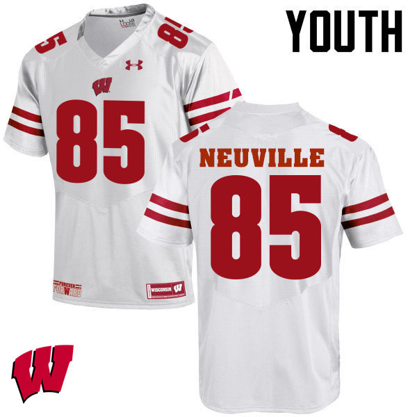 Youth Wisconsin Badgers #85 Zander Neuville College Football Jerseys-White